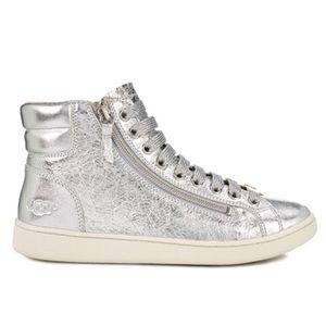UGG Olive Metallic Silver Leather Hi-Top Sneakers